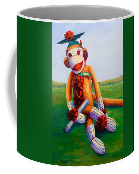 Graduation Coffee Mug featuring the painting Graduate Made Of Sockies by Shannon Grissom