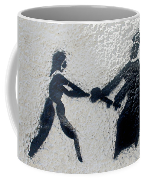 Graffiti Art In Black And White Along Streets In Hilly Valparaiso Coffee Mug featuring the photograph Graffiti Art In Black And White Along Streets Of Valparaiso-chile by Ruth Hager