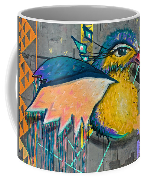 Graffiti Art Of A Colorful Bird Along Street Iin Hilly Valparaiso- Coffee Mug featuring the photograph Graffiti Art Of A Colorful Bird Along Street IIn Hilly Valparaiso-chile by Ruth Hager