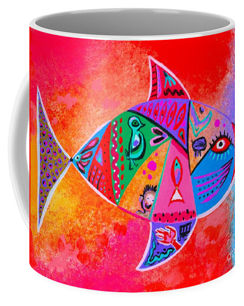 Bright Colors Coffee Mug featuring the painting Graffiti Fish by Jean Clarke