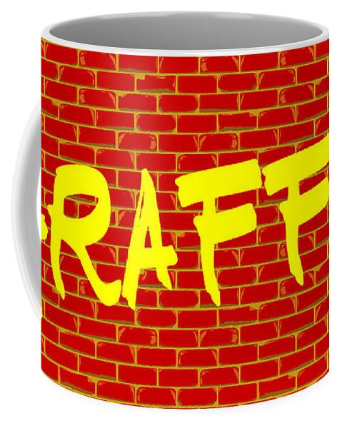 Graffiti Coffee Mug featuring the digital art Graffiti Red Wall by Bigalbaloo Stock