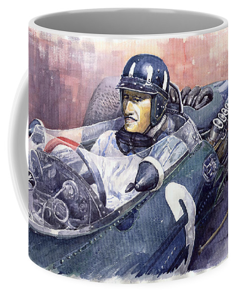Watercolour Paintings Coffee Mug featuring the painting Graham Hill Brm P261 1965 by Yuriy Shevchuk