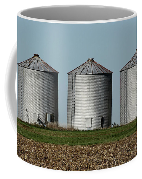 Agriculture Coffee Mug featuring the photograph Grain Bins In A Row by Alan Look