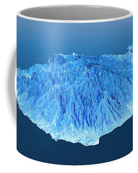 Gran Canaria Coffee Mug featuring the digital art Gran Canaria Topographic Map 3d Landscape View Blue Color by Frank Ramspott