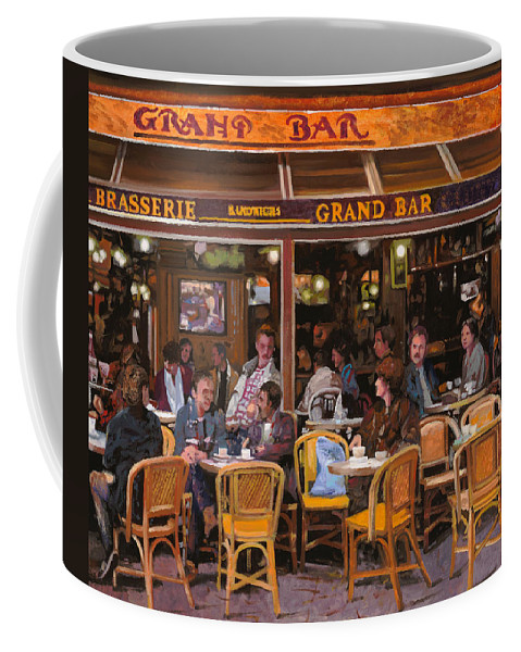 Brasserie Coffee Mug featuring the painting Grand Bar by Guido Borelli