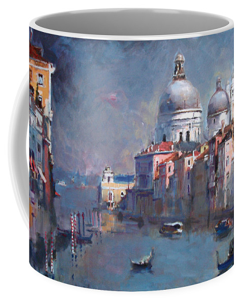 Landscape Coffee Mug featuring the painting Grand Canal Venice by Ylli Haruni