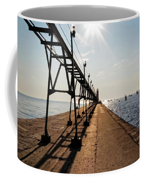 Grand Haven Coffee Mug featuring the photograph Grand Haven Pier by Lars Lentz