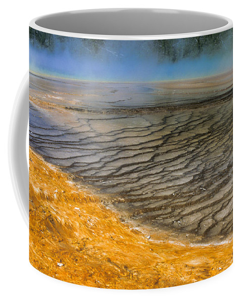 Yellowstone Coffee Mug featuring the photograph Grand Prismatic Runoff by Sandra Bronstein