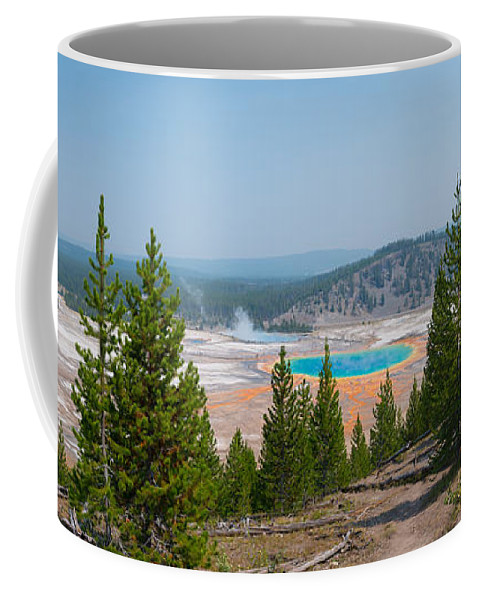 Grand Prismatic Spring Coffee Mug featuring the photograph Grand Prismatic Spring Panorama by Michael Ver Sprill