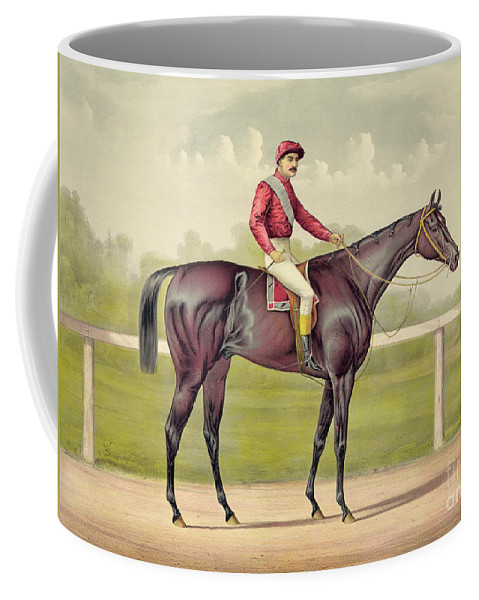 Horse Coffee Mug featuring the drawing Grand Racer Kingston by Currier and Ives