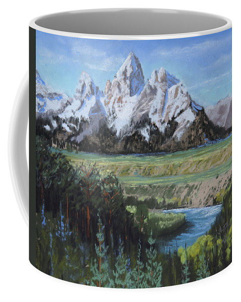 Grand Teton Coffee Mug featuring the painting Grand Teton And Snake River by Heather Coen