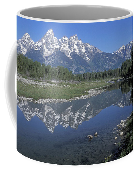 Grand Teton Coffee Mug featuring the photograph Grand Teton Reflection At Schwabacher Landing by Sandra Bronstein