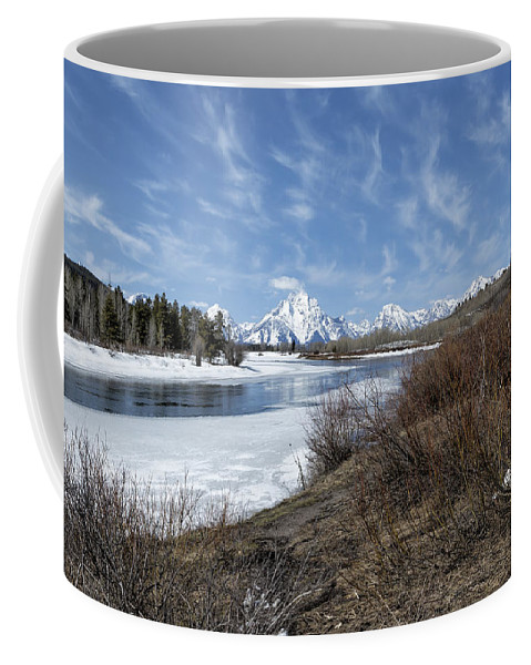 Grand Tetons Coffee Mug featuring the photograph Grand Tetons From Oxbow Bend At A Distance by Belinda Greb