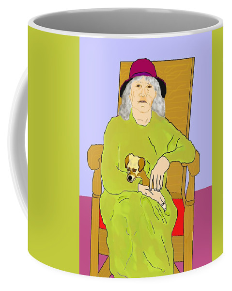 Grandmother Coffee Mug featuring the painting Grandma And Puppy by Pharris Art
