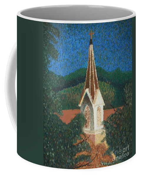 Grandma's Church Coffee Mug featuring the painting Grandmas Church by Jacqueline Athmann