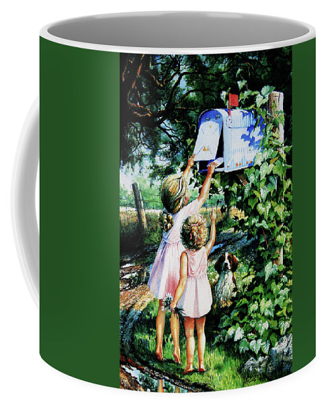 Mailbox Coffee Mug featuring the painting Grandmas Letter by Hanne Lore Koehler
