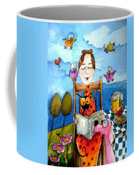 Lucia Stewart Coffee Mug featuring the painting Grandma's Story Time by Lucia Stewart