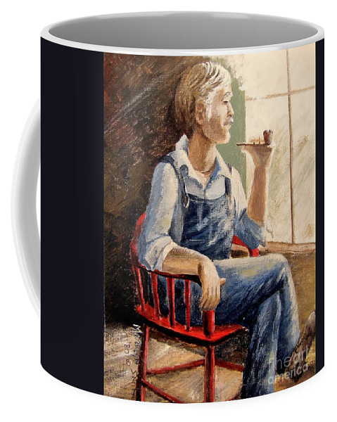Red Chair Coffee Mug featuring the painting Grandpa by Marilyn Smith