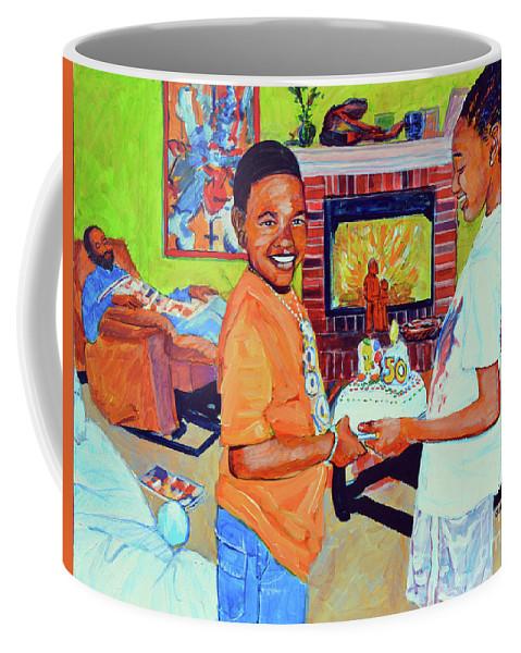 Birthday Coffee Mug featuring the painting Grandpas Surprise by Charles M Williams