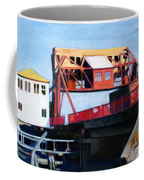 Drawbridge Coffee Mug featuring the drawing Granite Street Drawbridge At Neponset River by Deb Putnam