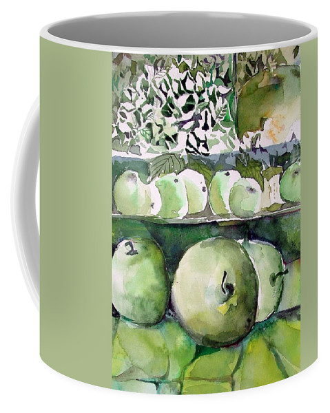 Apple Coffee Mug featuring the painting Granny Smith Apples by Mindy Newman