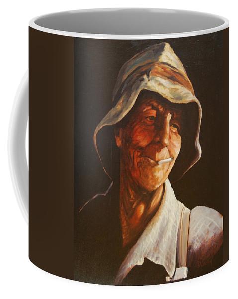 Male Coffee Mug featuring the painting Grape Picker by Rick Nederlof
