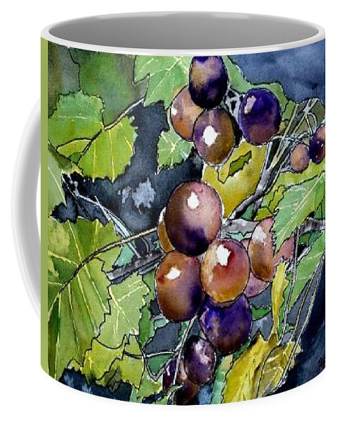 Grape Coffee Mug featuring the painting Grape Vine Still Life by Derek Mccrea