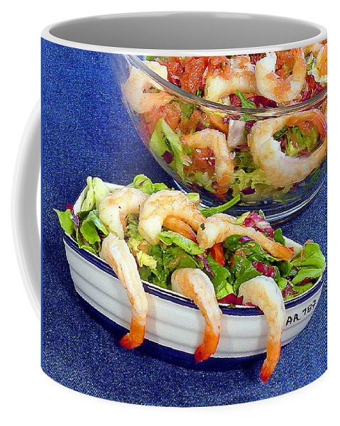Salad Coffee Mug featuring the photograph Grapefruit And Shrimp Salad by Robert Meyers-Lussier