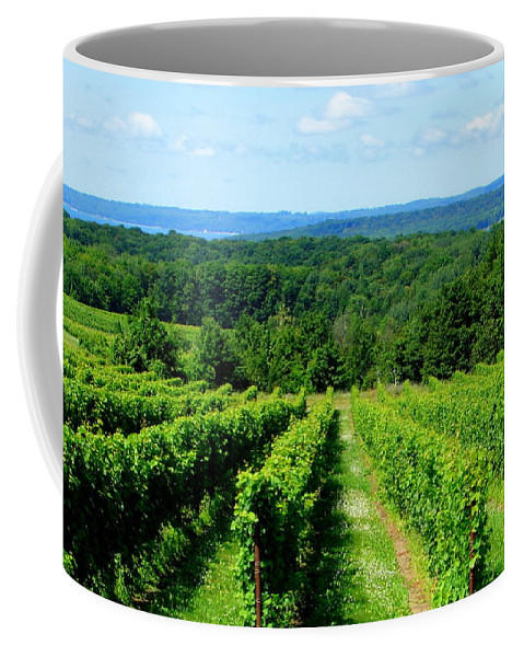 Scenic Coffee Mug featuring the photograph Grapevines On Old Mission Peninsula - Traverse City Michigan by Michelle Calkins