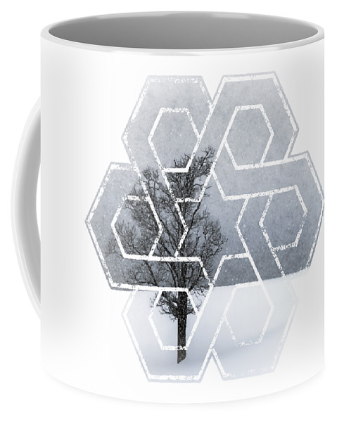 Abstract Coffee Mug featuring the photograph Graphic Art Wintertime Lonely Tree by Melanie Viola