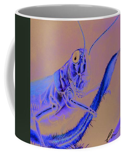 Grasshopper Coffee Mug featuring the painting Grasshopper by Cindy D Chinn