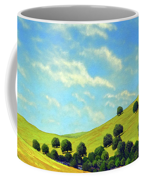 Wilderness Coffee Mug featuring the painting Grassy Hills At Meadow Creek by Frank Wilson