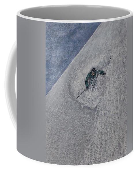 Ski Coffee Mug featuring the painting Gravity by Michael Cuozzo