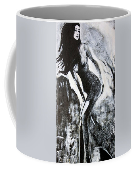 Beautiful Coffee Mug featuring the painting Gray Desert by Jarko Aka Lui Grande
