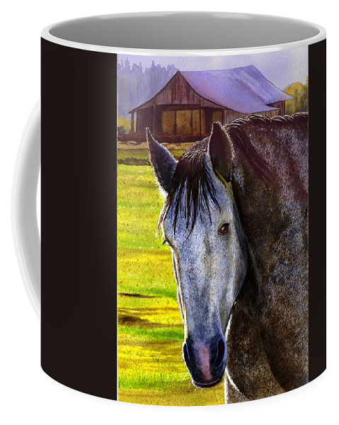 Horse Coffee Mug featuring the painting Gray Horse by Catherine G McElroy