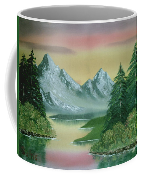 Bright Sky Coffee Mug featuring the painting Gray Mountains by Jim Saltis