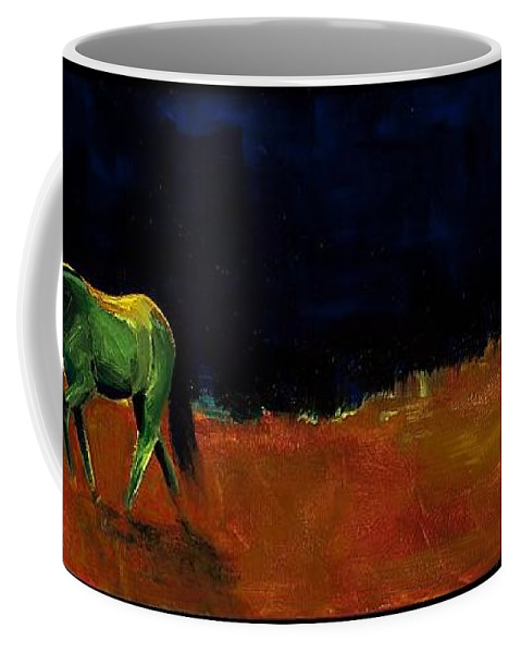 Abstract Horses Coffee Mug featuring the painting Grazing In The Moonlight by Frances Marino