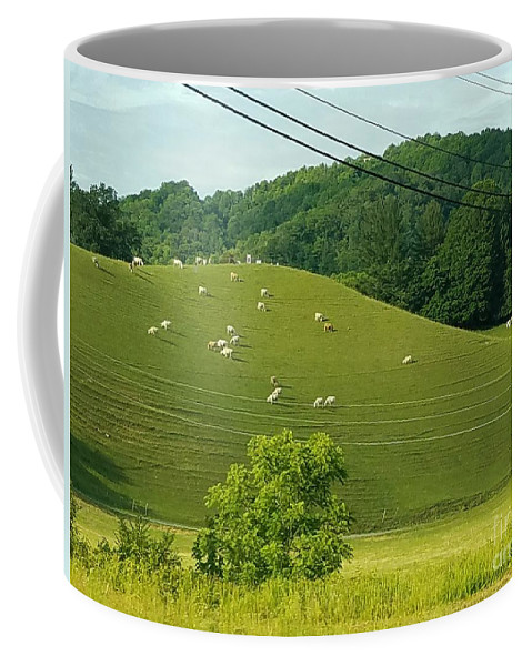 Roan Mountain Coffee Mug featuring the photograph Grazing On The Mountain Side by Nancy Turner