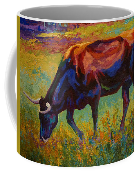 Longhorn Coffee Mug featuring the painting Grazing Texas Longhorn by Marion Rose