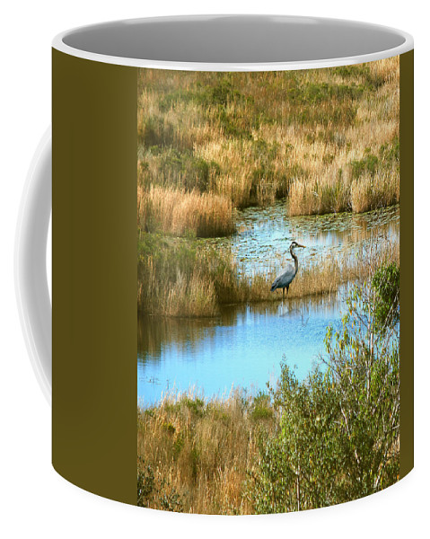 Great Blue Heron Coffee Mug featuring the photograph Great Blue by Adele Moscaritolo