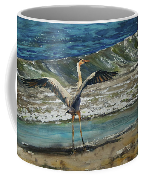 Great Blue Coffee Mug featuring the painting Great Blue Heron by Shirley Sykes Bracken