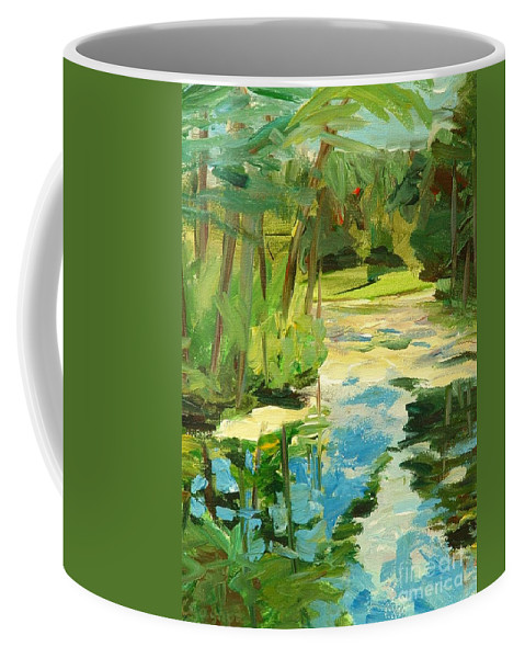 Blue Coffee Mug featuring the painting Great Brook Farm Canoe Launch by Claire Gagnon