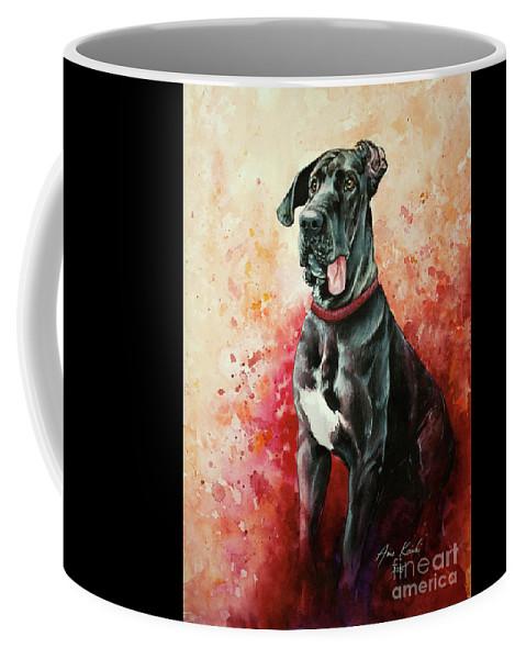 Gread Dane Coffee Mug featuring the painting Great Dane by Anne Koivumaki - Fine Art Anne