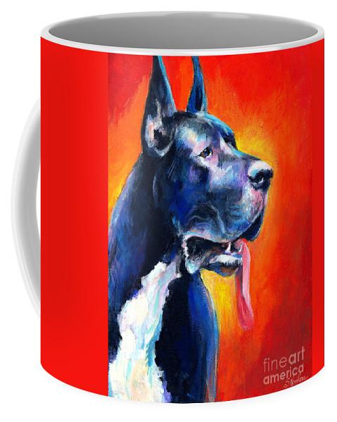 Black Great Dane Coffee Mug featuring the painting Great Dane Dog Portrait by Svetlana Novikova