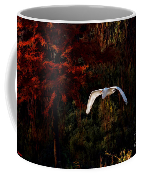 Great Egret Coffee Mug featuring the photograph Great Egret Paradise Flight by Blake Richards