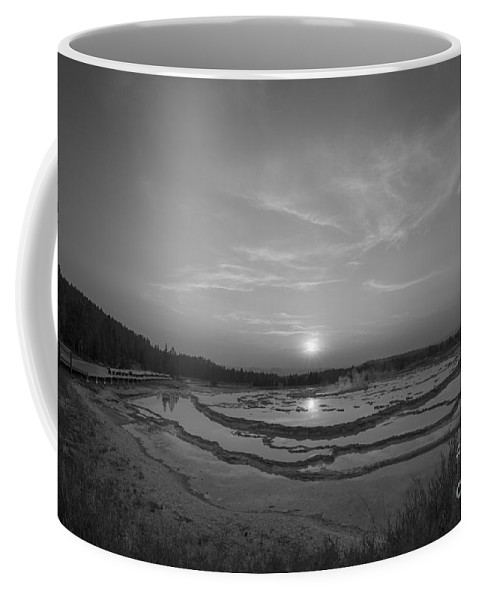 Great Fountain Geyser Coffee Mug featuring the photograph Great Fountain Geyser Sunset Bw by Michael Ver Sprill