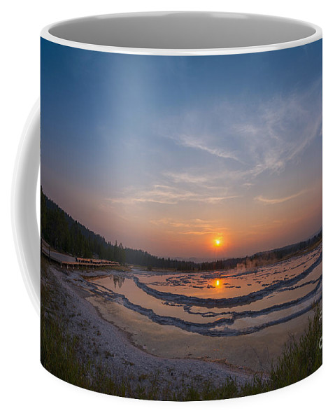 Great Fountain Geyser Coffee Mug featuring the photograph Great Fountain Geyser Sunset by Michael Ver Sprill