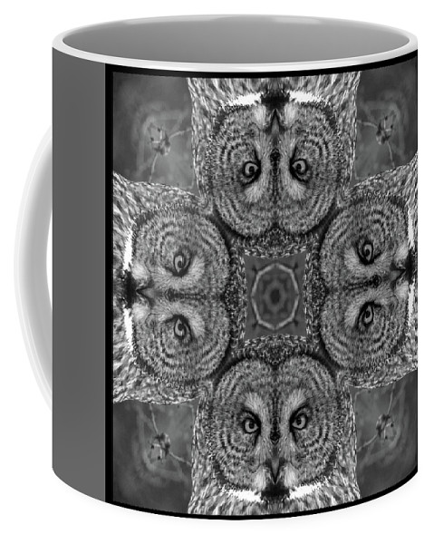 Kaleidoscope Coffee Mug featuring the photograph Great Gray Owl Stare Down by Rhoda Gerig