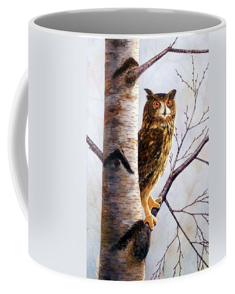 Great Horned Owl In Birch Coffee Mug featuring the painting Great Horned Owl In Birch by Frank Wilson