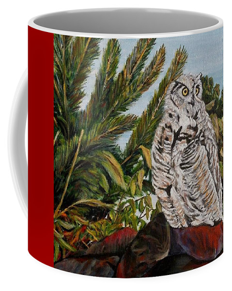 Great Horned Owl Coffee Mug featuring the painting Great Horned Owl - Owl On The Rocks by Marilyn McNish